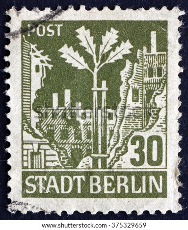 CROATIA ZAGREB, 15 APRIL 2016: a stamp printed in Germany, Berlin shows Oak Sapling, Ruins, circa 1945 - stock photo