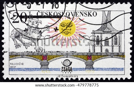 CROATIA ZAGREB, 21 AUGUST 2016: a stamp printed in Czechoslovakia shows Palacky Bridge, Prague, circa 1978