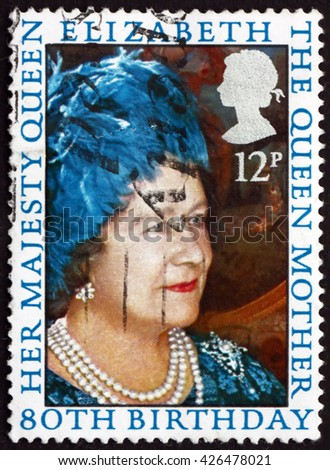 CROATIA ZAGREB, 21 FEBRUARY 2016: a stamp printed in Great Britain shows Queen Mother Elizabeth, 80th Birthday, circa 1980