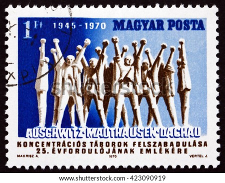 CROATIA ZAGREB, 21 FEBRUARY 2016: a stamp printed in Hungary shows Monument to Hungarian Martyrs, by A. Makrisz, 25th Anniversary of the Liberation of the Concentration Camps, circa 1970 - stock photo