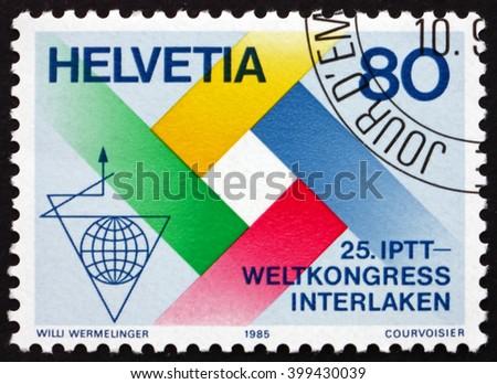 CROATIA ZAGREB, 7 FEBRUARY 2016: a stamp printed in the Switzerland dedicated to Postal, Telegraph and Telephone International Congress, Interlaken, circa 1985 - stock photo