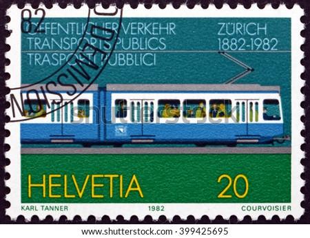 CROATIA ZAGREB, 7 FEBRUARY 2016: a stamp printed in the Switzerland dedicated to Zurich Tram Centenary, circa 1982 - stock photo