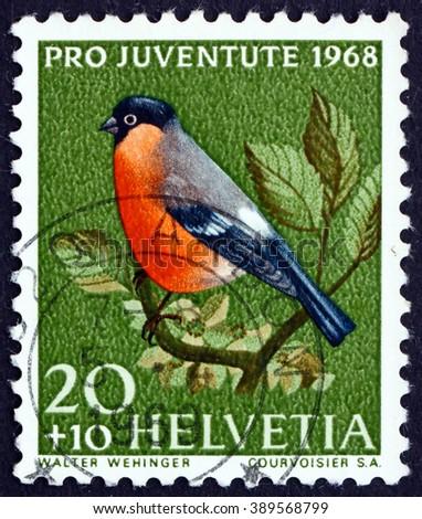 CROATIA ZAGREB, 7 FEBRUARY 2016: a stamp printed in the Switzerland shows Bullfinch, Pyrrhula Pyrrhula, Small Passerine Bird, circa 1968 - stock photo
