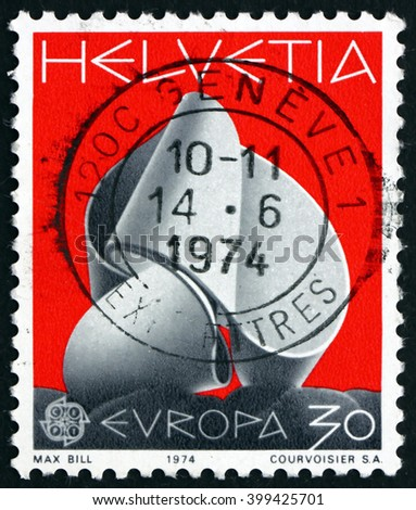 CROATIA ZAGREB, 7 FEBRUARY 2016: a stamp printed in the Switzerland shows Continuity, Sculpture by Max Bill, circa 1974 - stock photo
