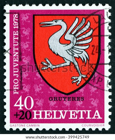 CROATIA ZAGREB, 7 FEBRUARY 2016: a stamp printed in the Switzerland shows Gruyeres, Communal Arms, circa 1978 - stock photo