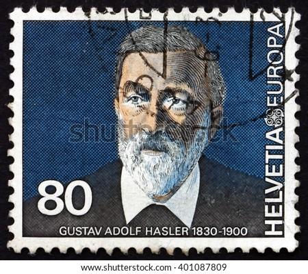 CROATIA ZAGREB, 7 FEBRUARY 2016: a stamp printed in the Switzerland shows Gustav Adolf Hasler, Communications Pioneer, circa 1980 - stock photo