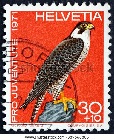 CROATIA ZAGREB, 7 FEBRUARY 2016: a stamp printed in the Switzerland shows Peregrine Falcon, Falco Peregrinus, Bird of Prey, circa 1971 - stock photo