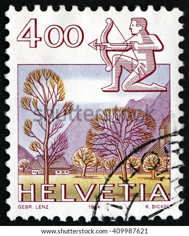 CROATIA ZAGREB, 21 FEBRUARY 2016: a stamp printed in the Switzerland shows Sagittarius, Glarus, Sign of the Zodiac and Nature View, circa 1984 - stock photo