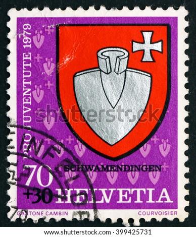 CROATIA ZAGREB, 7 FEBRUARY 2016: a stamp printed in the Switzerland shows Schwamendingen, Communal Arms, circa 1979 - stock photo