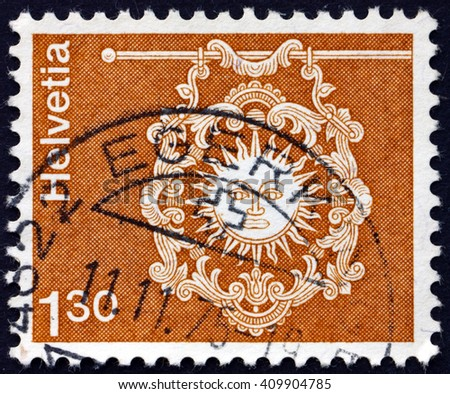 CROATIA ZAGREB, 21 FEBRUARY 2016: a stamp printed in the Switzerland shows Sign of Inn Zur Sonne, Toggenburg, circa 1973 - stock photo