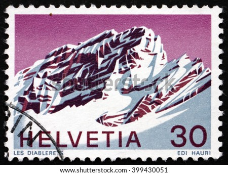 CROATIA ZAGREB, 7 FEBRUARY 2016: a stamp printed in the Switzerland shows View of Les Diablerets, Vaud, Swiss Alps, circa 1971 - stock photo