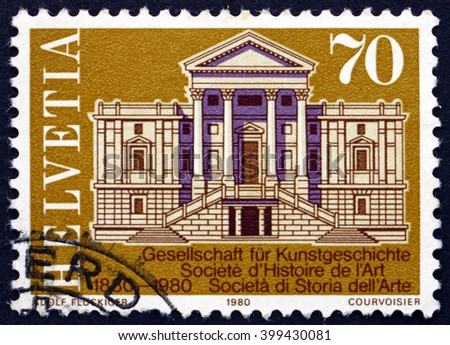 CROATIA ZAGREB, 7 FEBRUARY 2016: a stamp printed in the Switzerland shows Winterthur Town Hall, Centenary of the Society for Swiss Art History, circa 1980 - stock photo