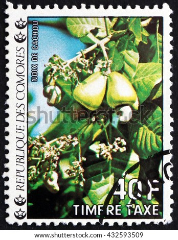 CROATIA ZAGREB, 26 JULY 2015: a stamp printed in Comoros shows Cashews, Tropical Fruit, circa 1985 - stock photo