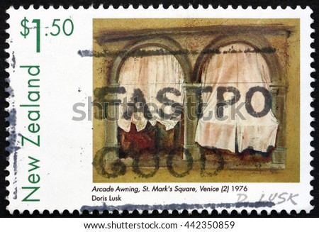 CROATIA ZAGREB, 10 JUNE 2016: a stamp printed in New Zealand shows Arcade Awning, St. Mark's Square, Venice, Painting by Doris Lusk, circa 1999