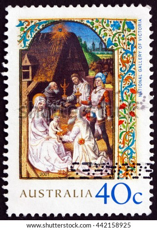 CROATIA ZAGREB, 10 JUNE 2016: a stamp printed in the Australia shows Adoration of the Magi, Illumination from the Wharncliffe Hours, Christmas, circa 2001
