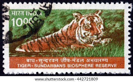 CROATIA ZAGREB, 28 MARCH 2016: a stamp printed in India shows Tiger, Panthera Tigris, Sundarbans National Biosphere Reserve, circa 2000 - stock photo