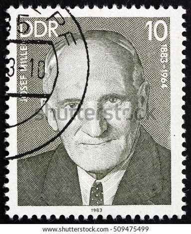 CROATIA ZAGREB, 2 OCTOBER 2016: a stamp printed in Germany shows Josef Miller, Working-class Leader, circa 1983