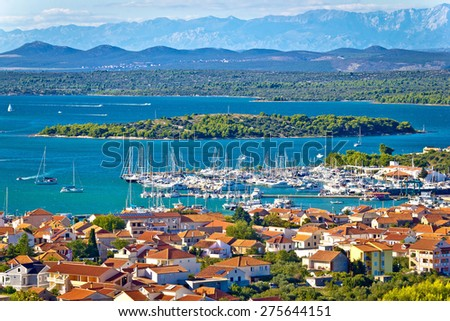 Croatian island archipelago view near Murter island, Dalmatia, Croatia - stock photo
