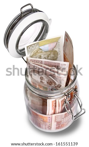 Croatian Kuna banknotes in jar isolated on white background