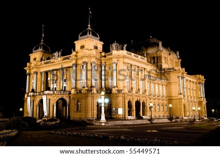 Croatian National Theater in Zagreb at night - stock photo