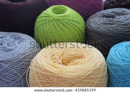 Crochet and varities ball of wool yarn and knitting needles. Handcraft equipment used for needlework as a hobby. - stock photo