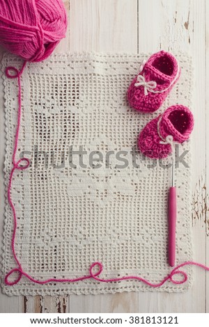 Crochet Baby Booties - stock photo