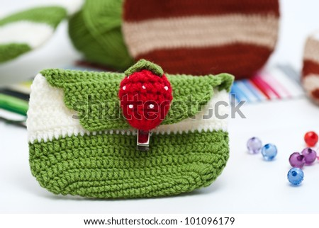 Crochet. Hobby. Crocheted motifs of cotton. - stock photo