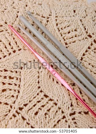 crochet hooks. Close up. - stock photo