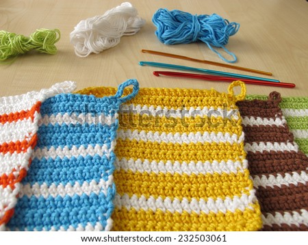 Crochet potholders  - stock photo