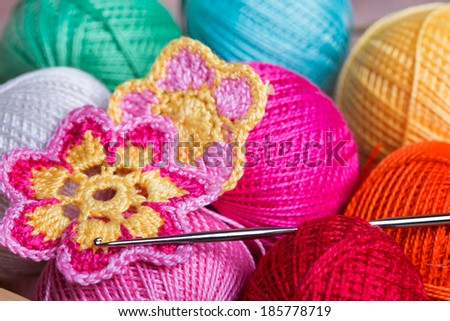 Crochet, soft focus , Crocheted flowers  - stock photo