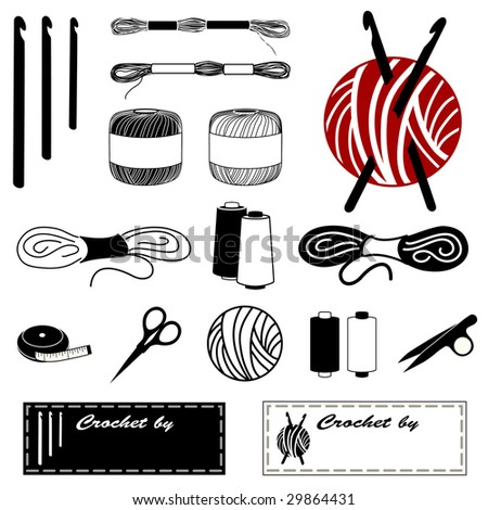 Crochet tatting lace making icons hooks stock illustration 29864431 crochet tatting lace making icons hooks embroidery floss threads yarn solutioingenieria Image collections