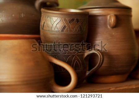 Crockery handmade from clay cups and jugs
