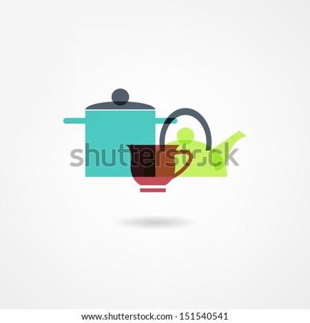 crockery icon - stock photo