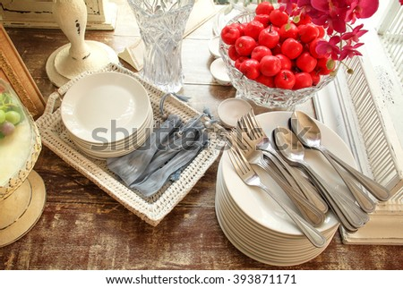 Crockery, kitchen and dining room - stock photo