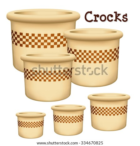 Crocks with check design, collection of 6 earthenware planters in small, medium and large sizes with checkerboard design trim isolated on a white background.  - stock photo