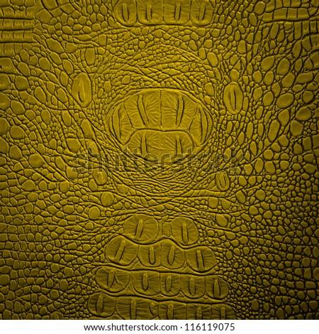 crocodile leather yellow - stock photo