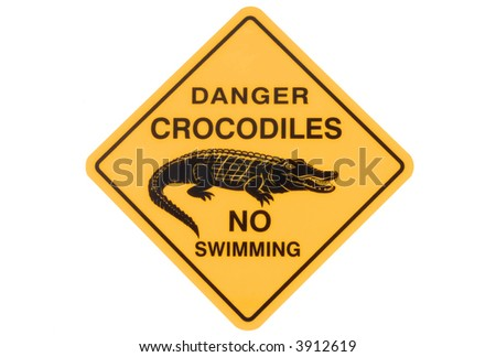 Crocodile warning road sign, isolated on white - stock photo
