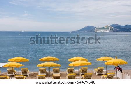 Croisette beach Cannes - stock photo