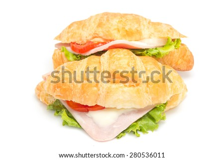 croissant ham cheese isolated on white background