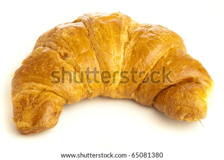 croissant recently made isolated on white background - stock photo