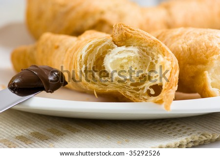 Croissant with chocolate cream