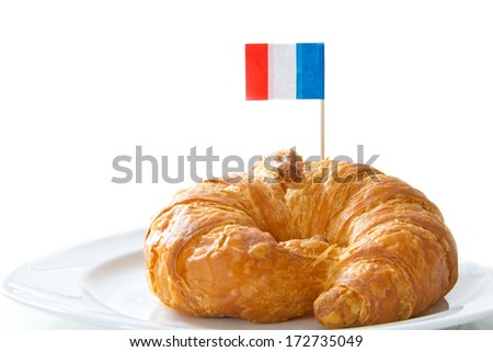 Croissant with french flag - stock photo