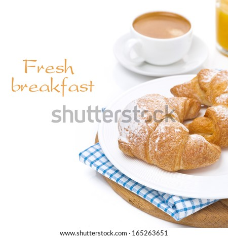 croissants on a plate, espresso and orange juice isolated on white
