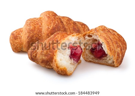 croissants on a white background, strawberry jam croissants on a white background - stock photo
