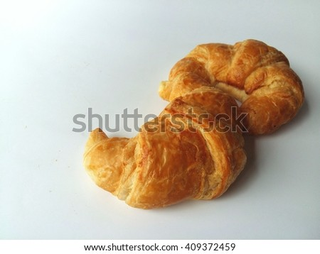 Croissants so delicious on white background