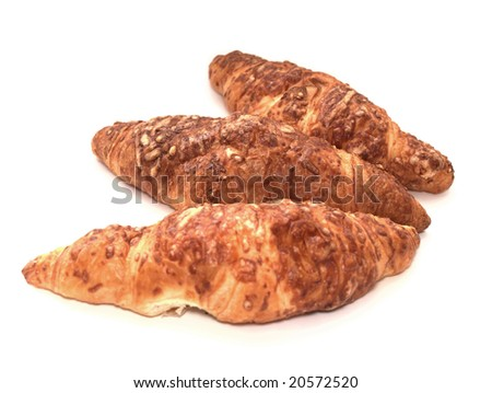 croissants with cheese isolated on white background