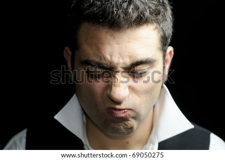Crooked-nosed man - stock photo
