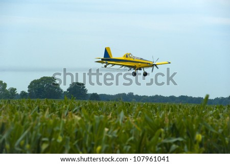 Crop Duster  spraying corn. - stock photo