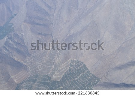 Crop fields in the Maipo Valley, especially vines to make wine, in Santiago de Chile, Chile, - stock photo