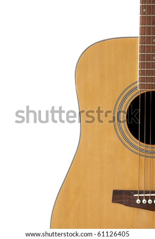 Crop of an Acoustic Guitar with Adspace - stock photo